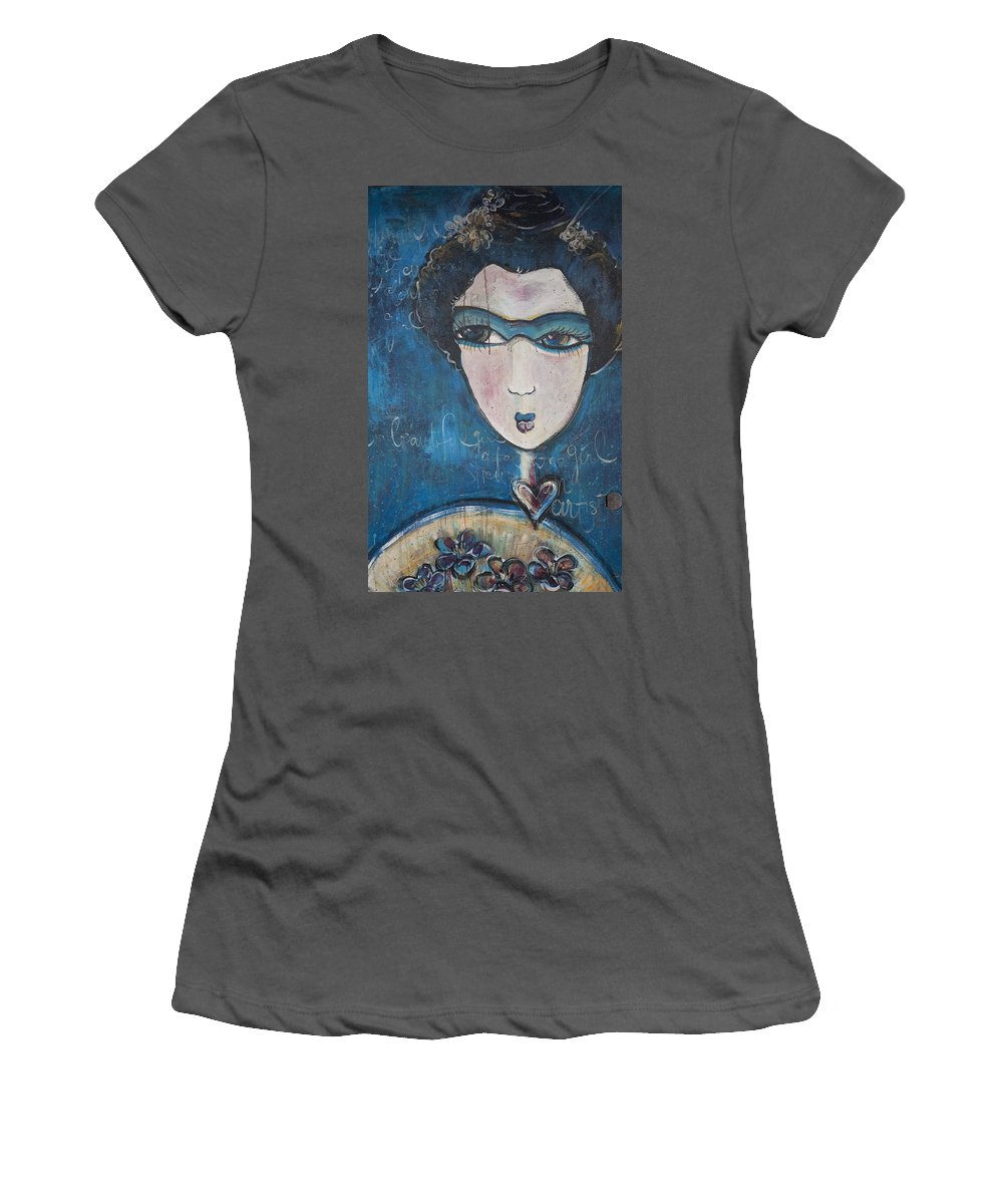 Blue Women's T-Shirt (Athletic Fit) featuring the painting Blue Geisha Love Detail by Laurie Maves ART
