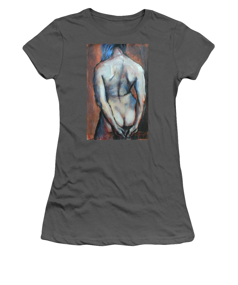 Original Painting Female Nude Drawing Acrylic Blue Hair Women's T-Shirt (Athletic Fit) featuring the painting Blue Hair by Carmen Tyrrell