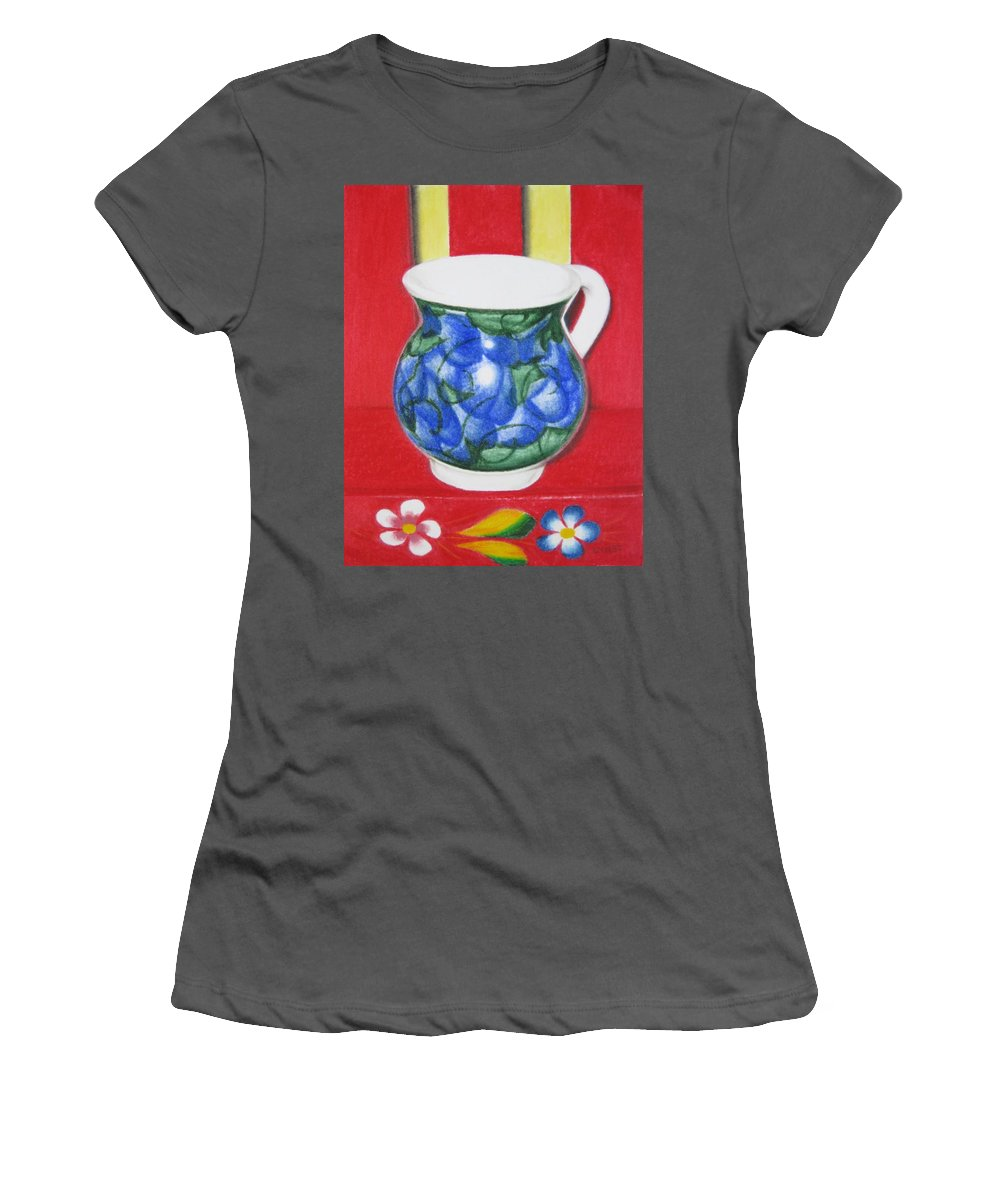Blue Jarrito Women's T-Shirt (Athletic Fit) featuring the painting Blue Jarrito by Lynet McDonald