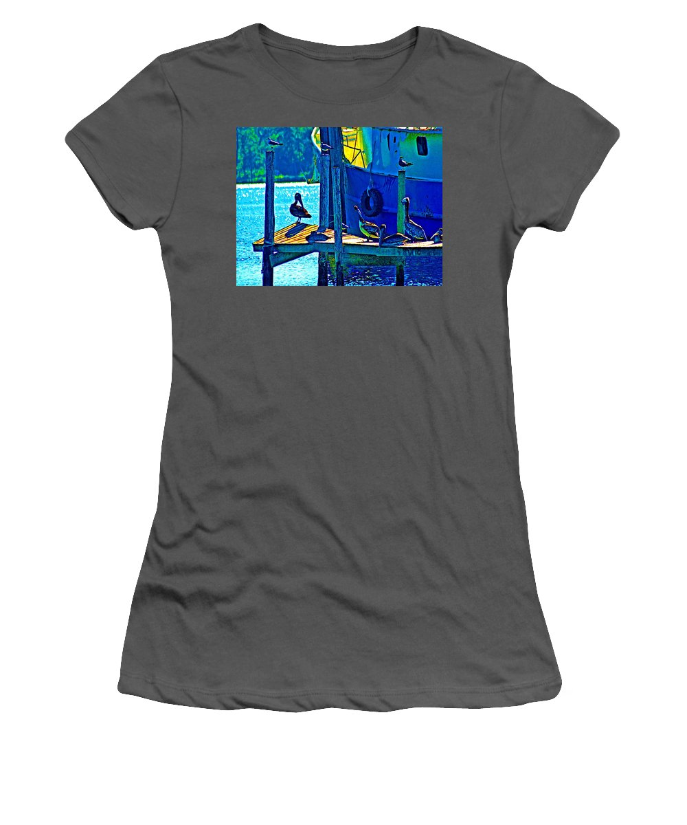 Water Women's T-Shirt (Athletic Fit) featuring the painting Blue Pelicans by Michael Thomas