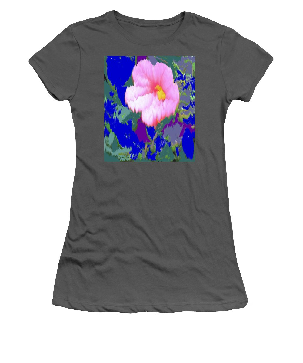Flower Women's T-Shirt (Athletic Fit) featuring the photograph Blue Pink by Ian MacDonald