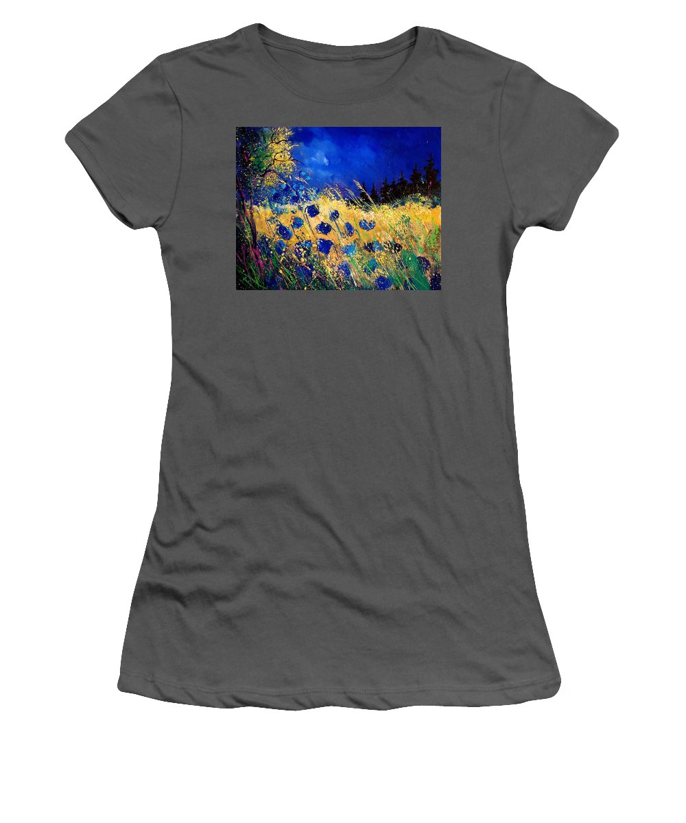 Flowers Women's T-Shirt (Athletic Fit) featuring the painting Blue Poppies 459070 by Pol Ledent