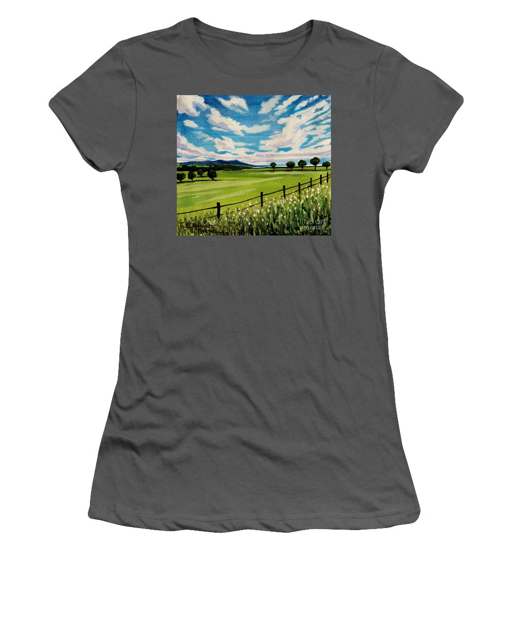 Landscape Women's T-Shirt (Athletic Fit) featuring the painting Blue Skies by Elizabeth Robinette Tyndall