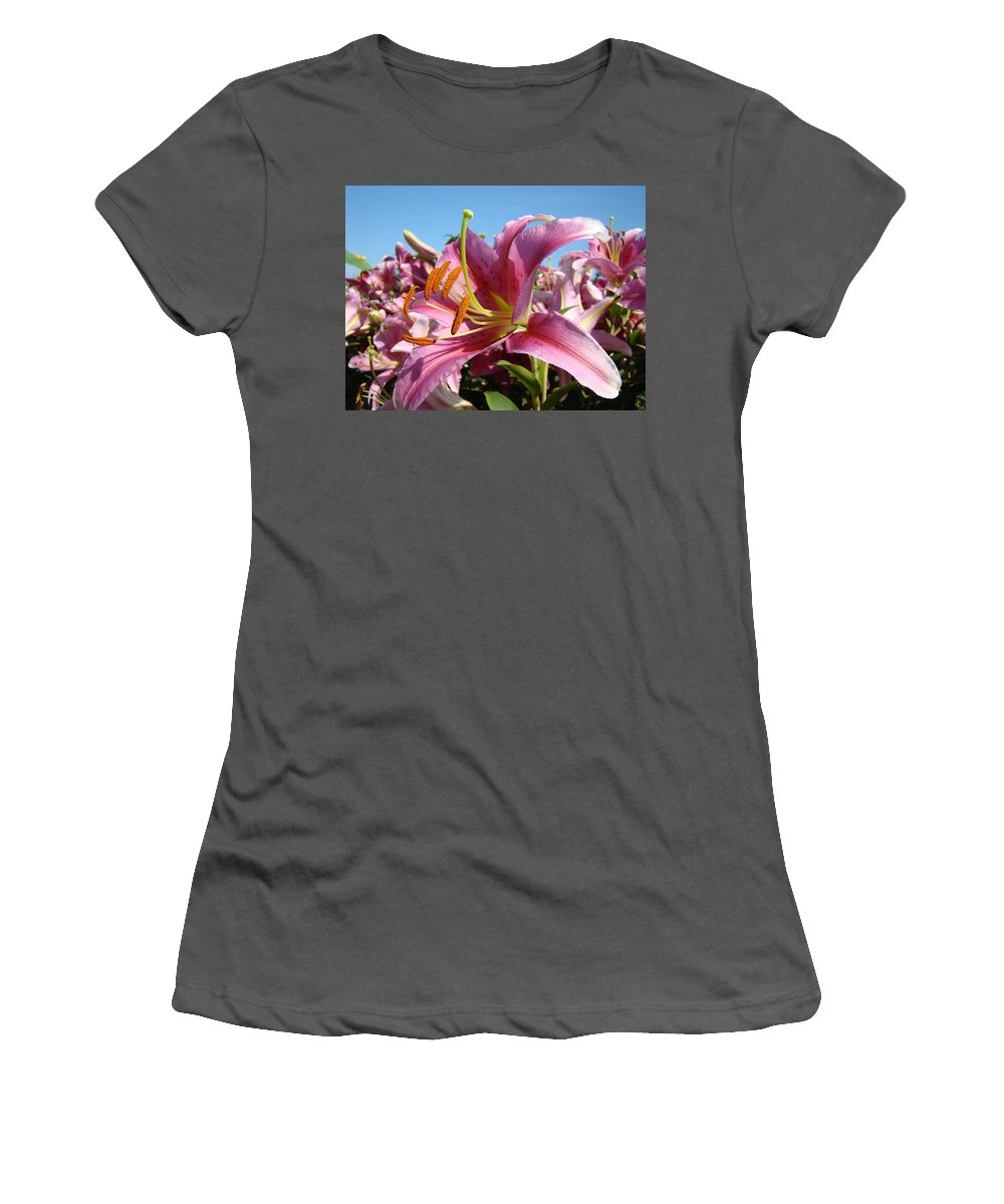 Lilies Women's T-Shirt (Athletic Fit) featuring the photograph Blue Sky Floral Landscape Pink Lilies Art Prints Canvas Baslee Troutman by Baslee Troutman