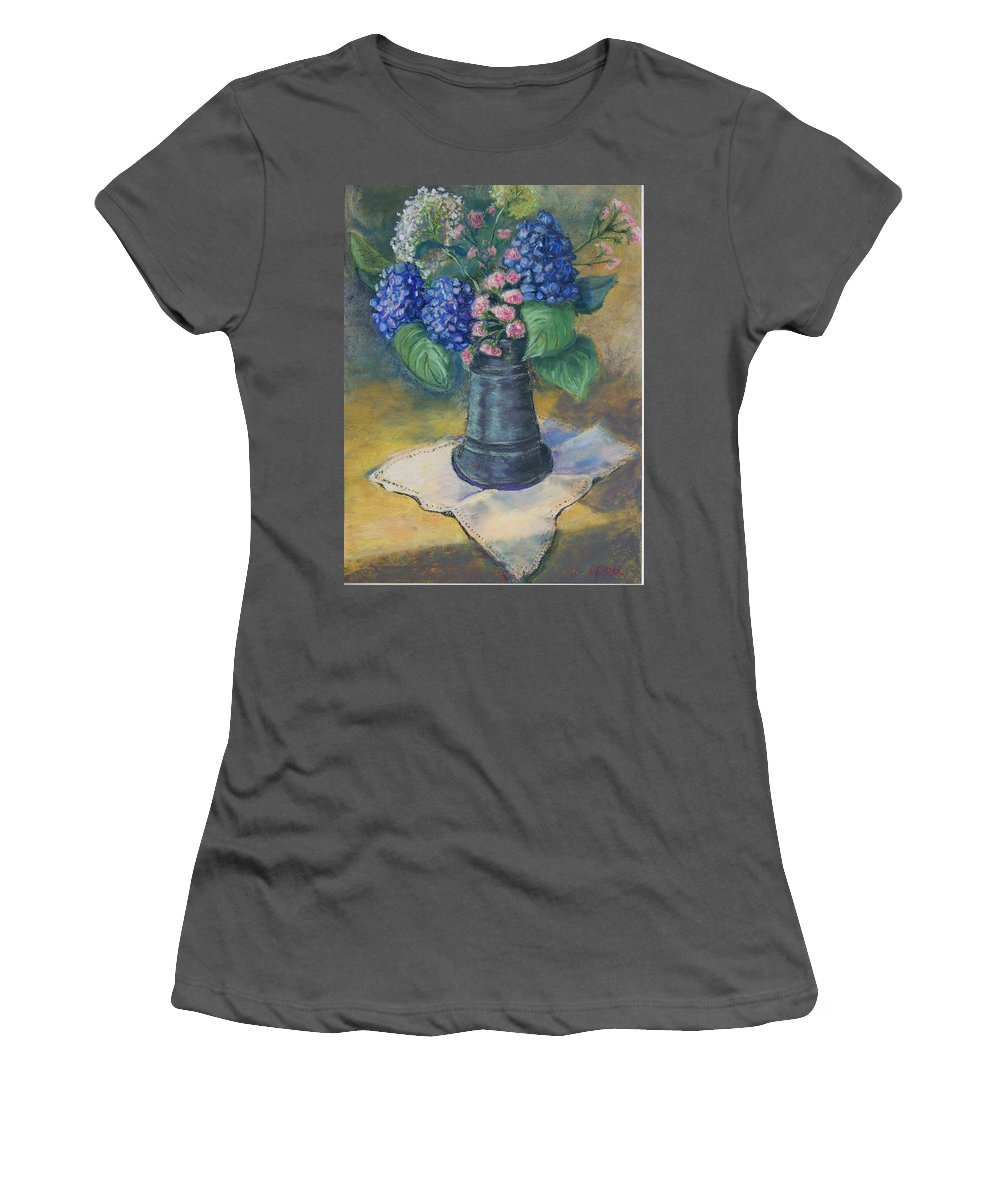 Flowers Women's T-Shirt (Athletic Fit) featuring the painting Blue Summer by Laurie Paci