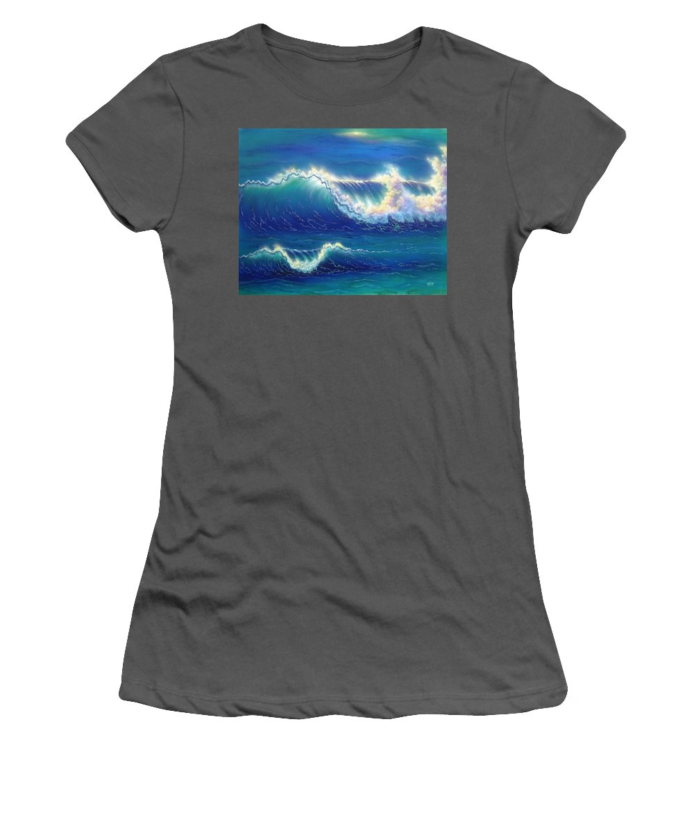 Seascape Women's T-Shirt (Athletic Fit) featuring the painting Blue Thunder by Angie Hamlin