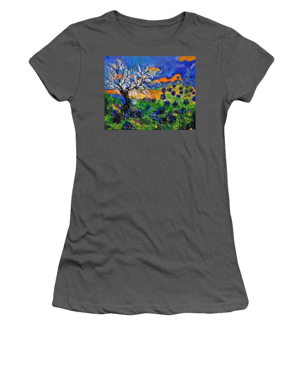 Poppies Women's T-Shirt (Athletic Fit) featuring the painting Bluecornflowers 451120 by Pol Ledent