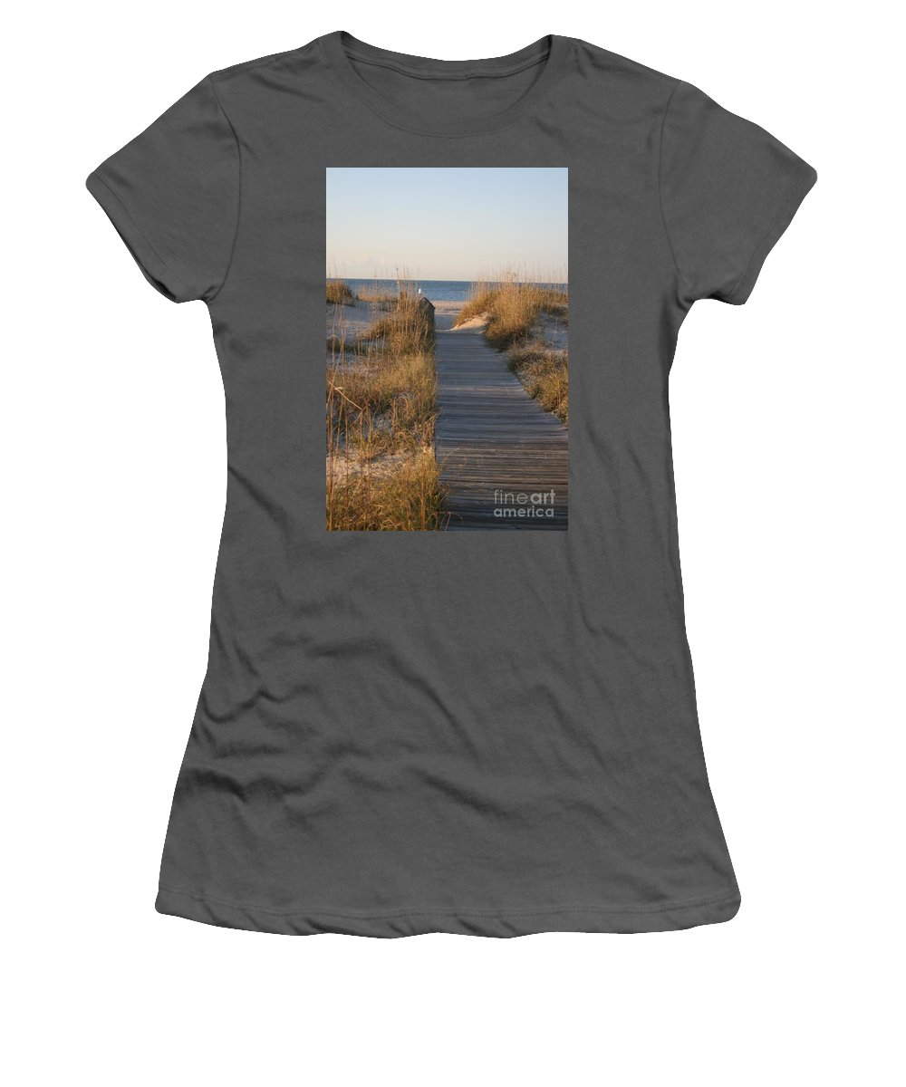 Boardwalk Women's T-Shirt (Athletic Fit) featuring the photograph Boardwalk To The Beach by Nadine Rippelmeyer