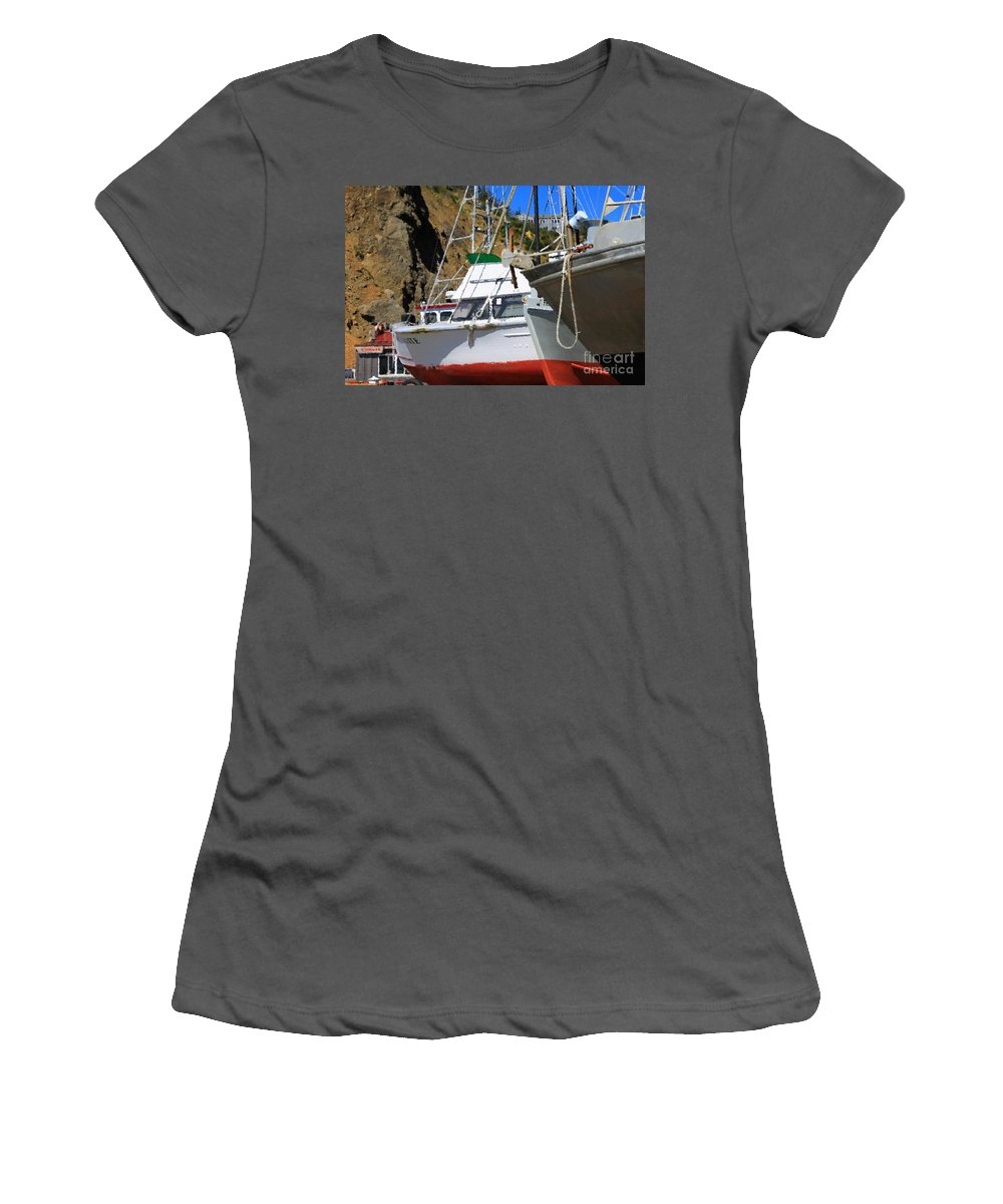 Anchor Women's T-Shirt (Athletic Fit) featuring the photograph Boats In Drydock by James Eddy