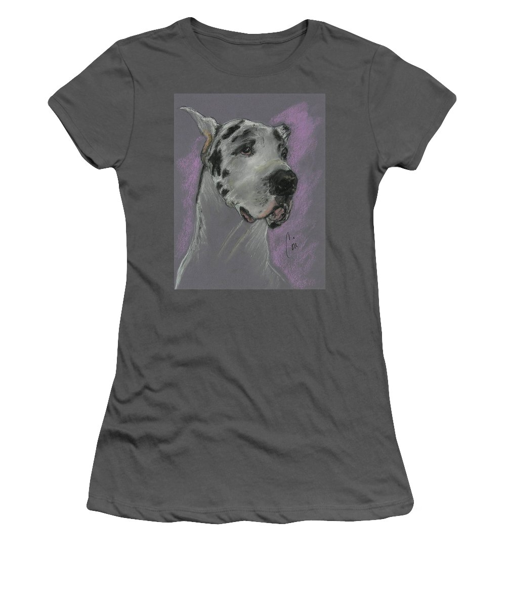 Great Dane Women's T-Shirt (Athletic Fit) featuring the drawing Bodhi's Mystique by Cori Solomon