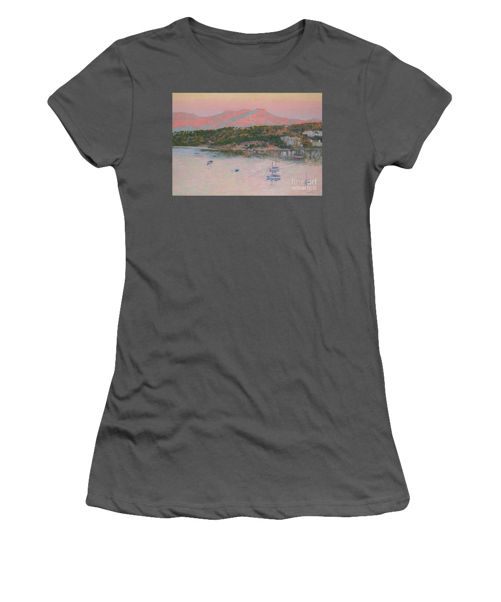 Bodrum Women's T-Shirt (Athletic Fit) featuring the painting Bodrum.pink Sunrise by Simon Kozhin