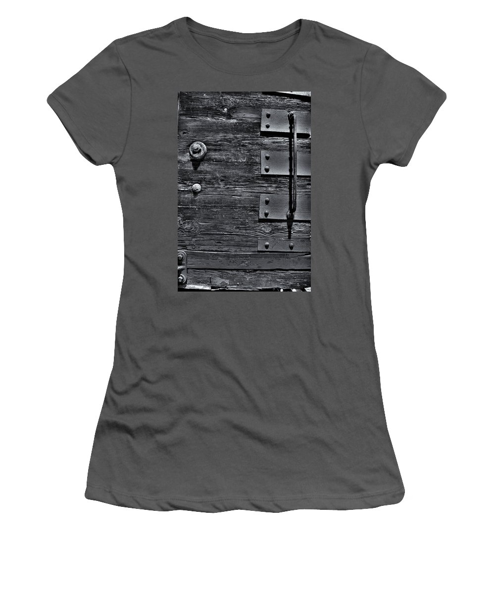 Wood Women's T-Shirt (Athletic Fit) featuring the photograph Bolted Wood by Scott Wyatt