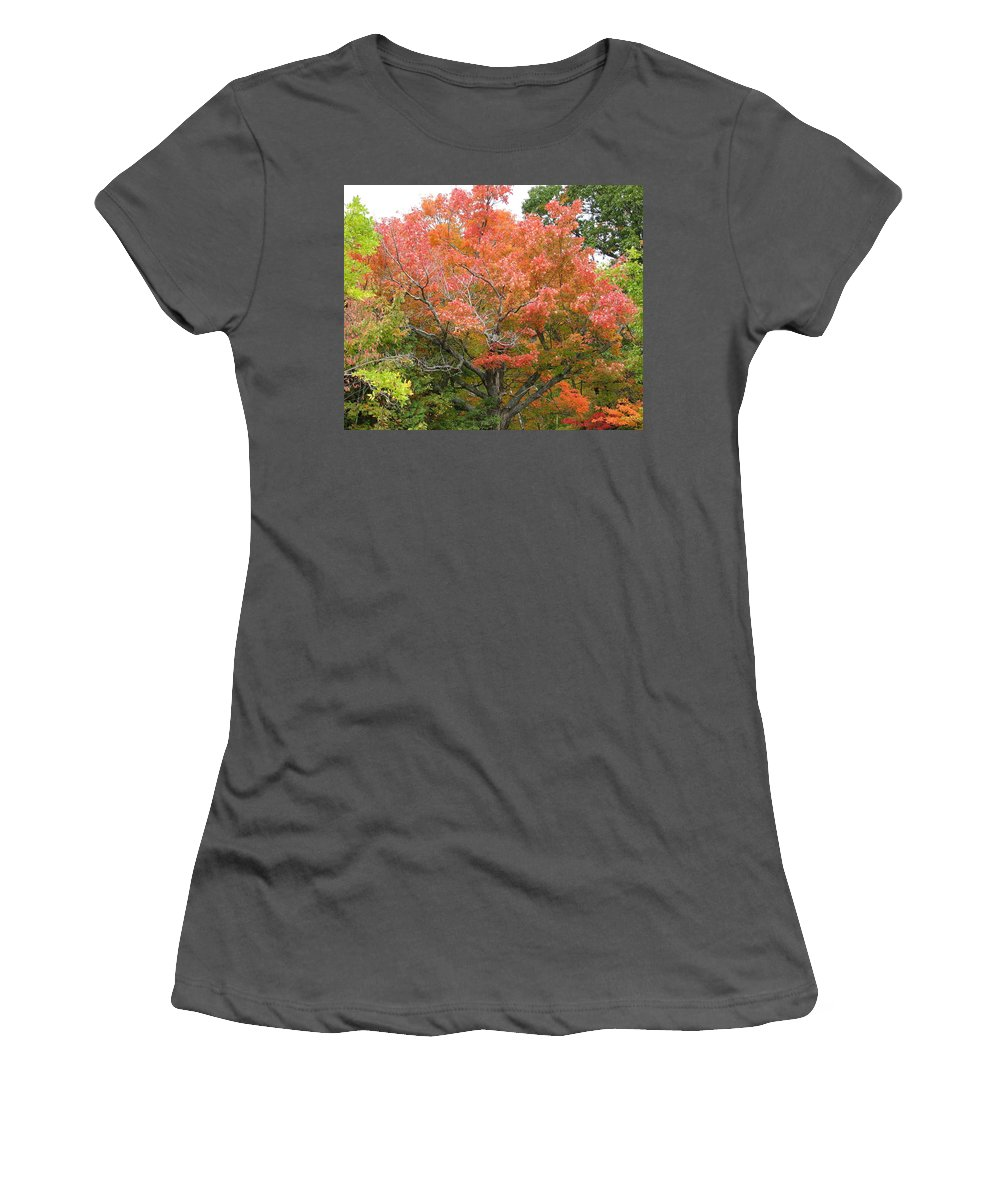 Fall Women's T-Shirt (Athletic Fit) featuring the photograph Bonfire by Kelly Mezzapelle