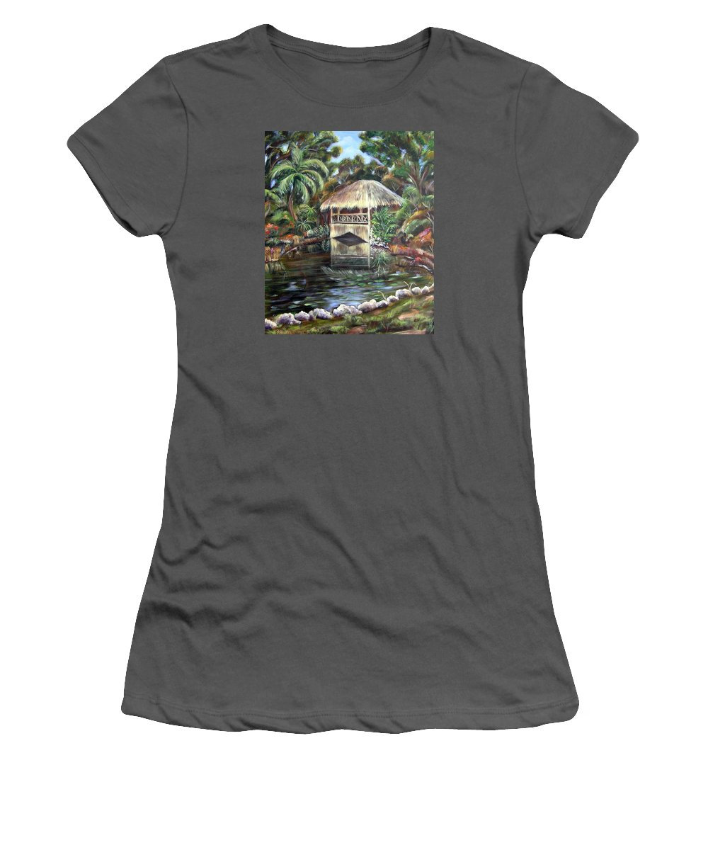 Bonnet House Women's T-Shirt (Athletic Fit) featuring the painting Bonnet House Chickee by Patricia Piffath