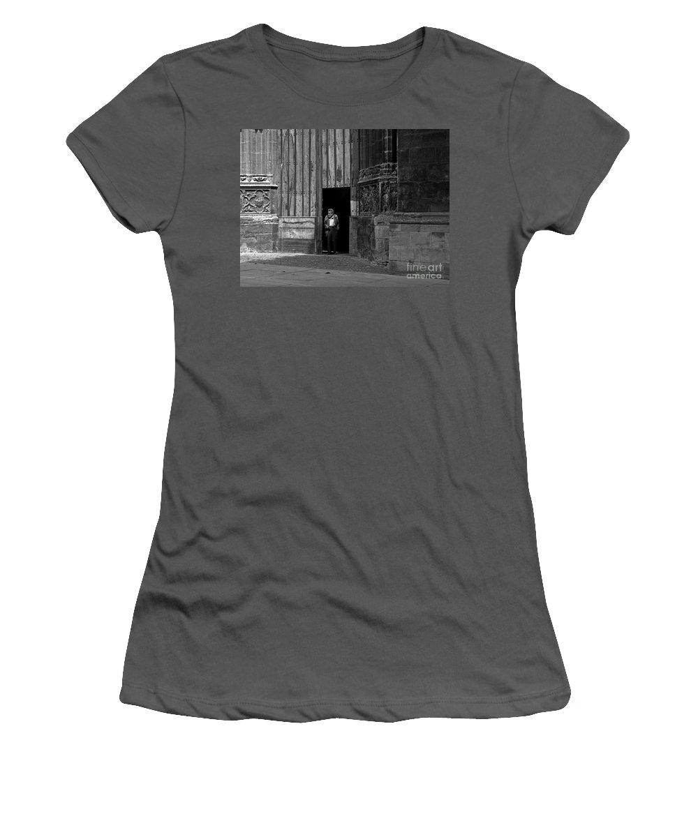 Bordeaux Women's T-Shirt (Athletic Fit) featuring the photograph Bordeaux Church Door by Thomas Marchessault