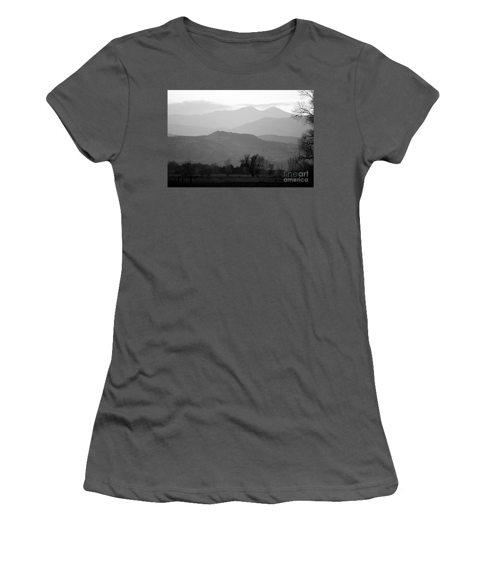 Foothills Women's T-Shirt (Athletic Fit) featuring the photograph Boulder County Foothills To The Rockies Bw by James BO Insogna