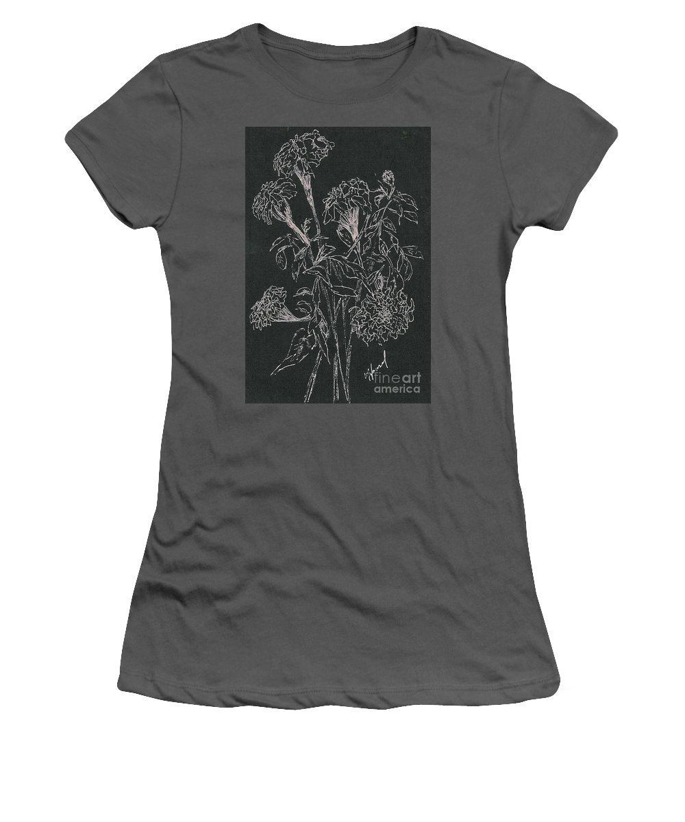 Flowers Women's T-Shirt (Athletic Fit) featuring the painting Bouquet Of Flowers by Vicki Housel