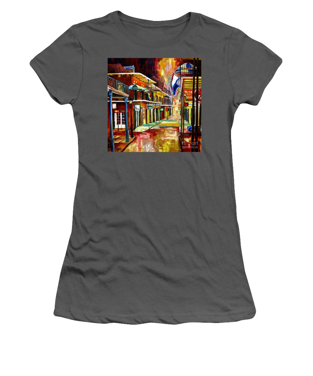 New Orleans Women's T-Shirt (Athletic Fit) featuring the painting Bourbon Street Lights by Diane Millsap