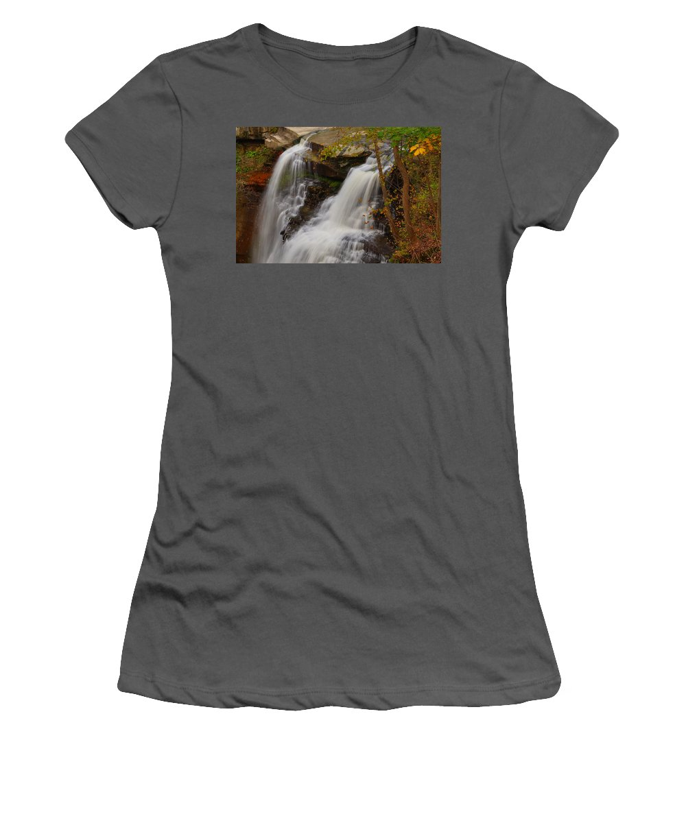 Autumn Women's T-Shirt (Athletic Fit) featuring the photograph Brandywine Falls II by Beth Collins