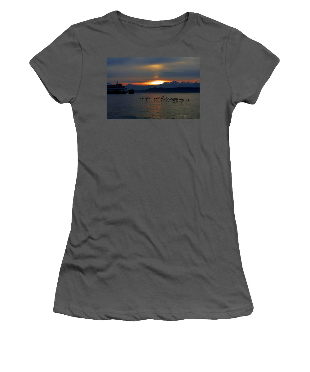 Sunset Women's T-Shirt (Athletic Fit) featuring the photograph Brants At Sunset by Karen Ulvestad