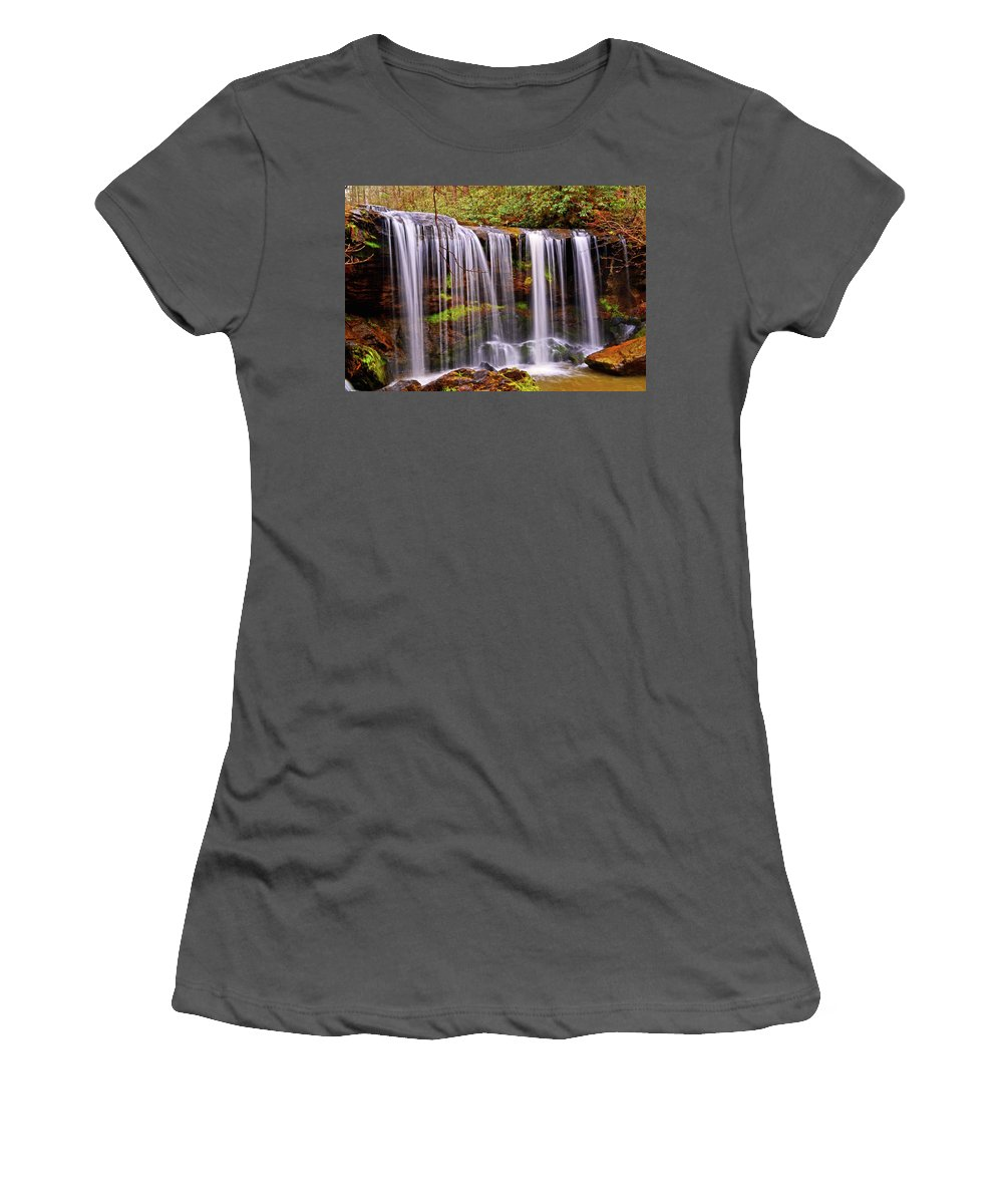 Waterfalls Women's T-Shirt (Athletic Fit) featuring the photograph Brasstown Falls 005 by George Bostian