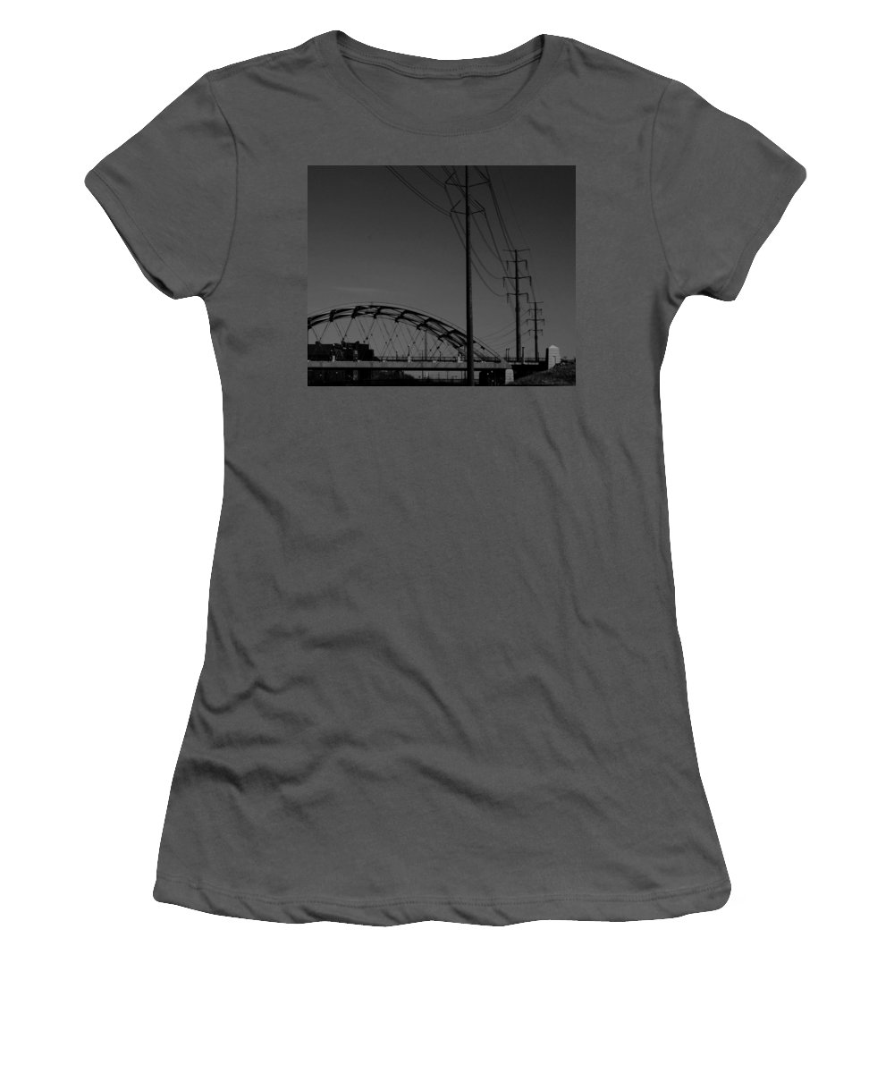 Metal Structures Women's T-Shirt (Athletic Fit) featuring the photograph Bridge And Power Poles At Dusk by Angus Hooper Iii