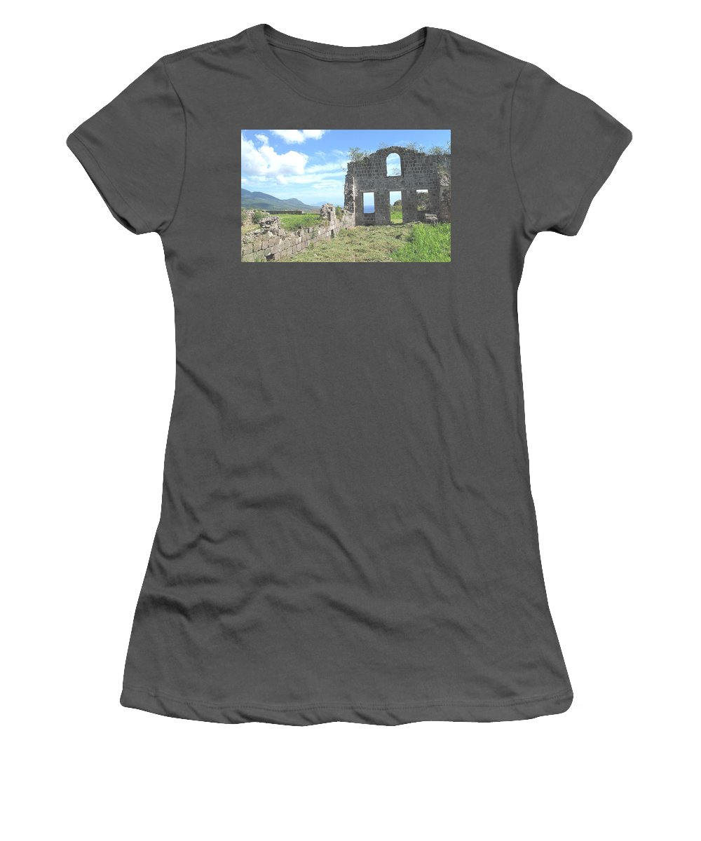 St Kitts Women's T-Shirt (Athletic Fit) featuring the photograph Brimstone Ruins by Ian MacDonald