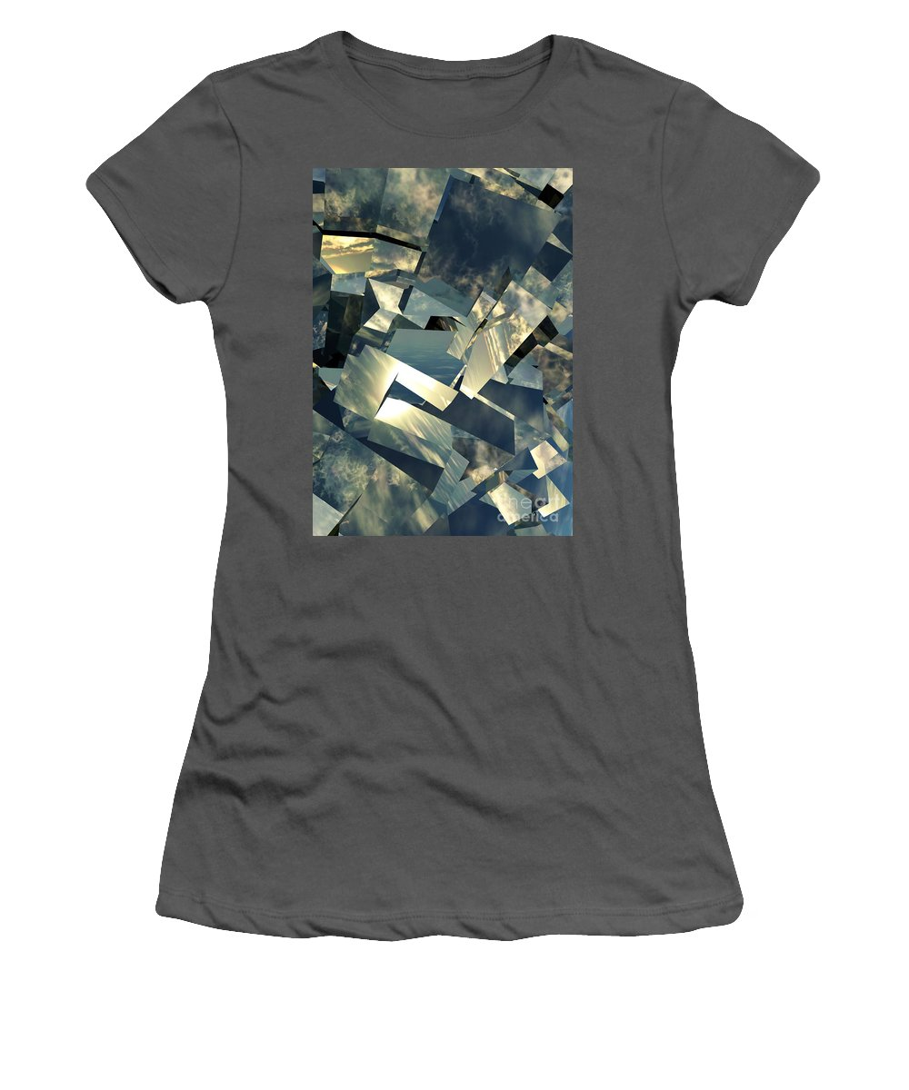Skies Women's T-Shirt (Athletic Fit) featuring the digital art Broken Sky by Richard Rizzo