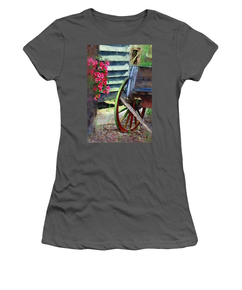 Wagon Women's T-Shirt (Athletic Fit) featuring the photograph Broken Wagon by Donna Bentley
