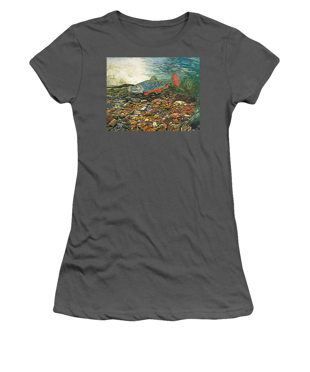 Nature Women's T-Shirt (Athletic Fit) featuring the painting Brook Trout Art Fish Art Nature Wildlife Underwater by Baslee Troutman