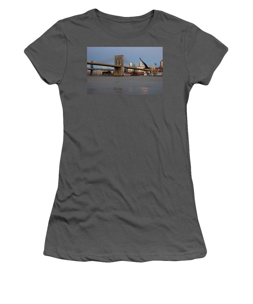 Brooklyn Bridge Women's T-Shirt (Athletic Fit) featuring the photograph Brooklyn Bridge And Bird In Flight by Anita Burgermeister