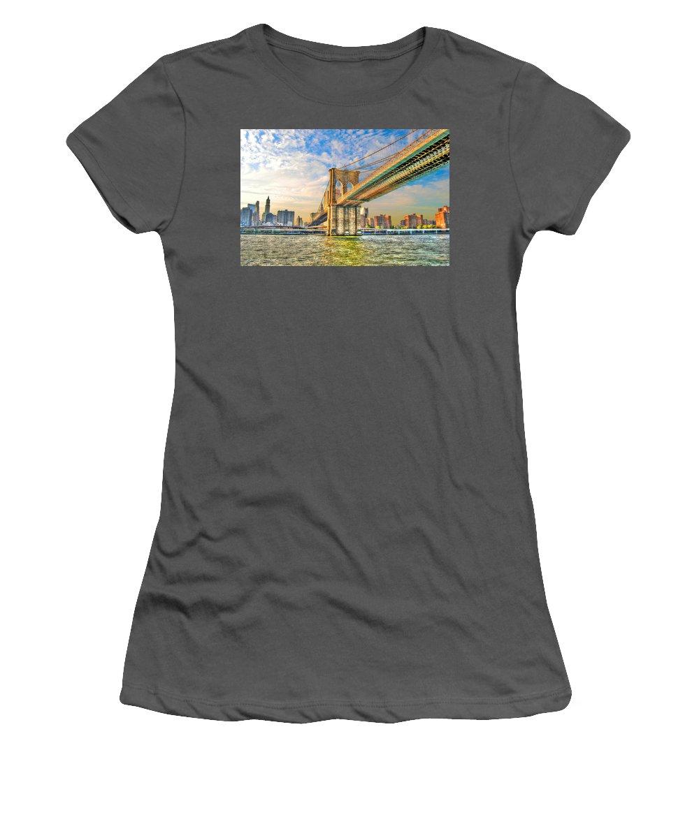 Brooklyn Bridge Women's T-Shirt (Athletic Fit) featuring the photograph Brooklyn Bridge by Randy Aveille