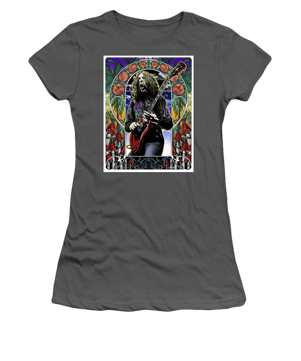 Duane Allman Women's T-Shirt (Athletic Fit) featuring the drawing Brother Duane by Gary Kroman