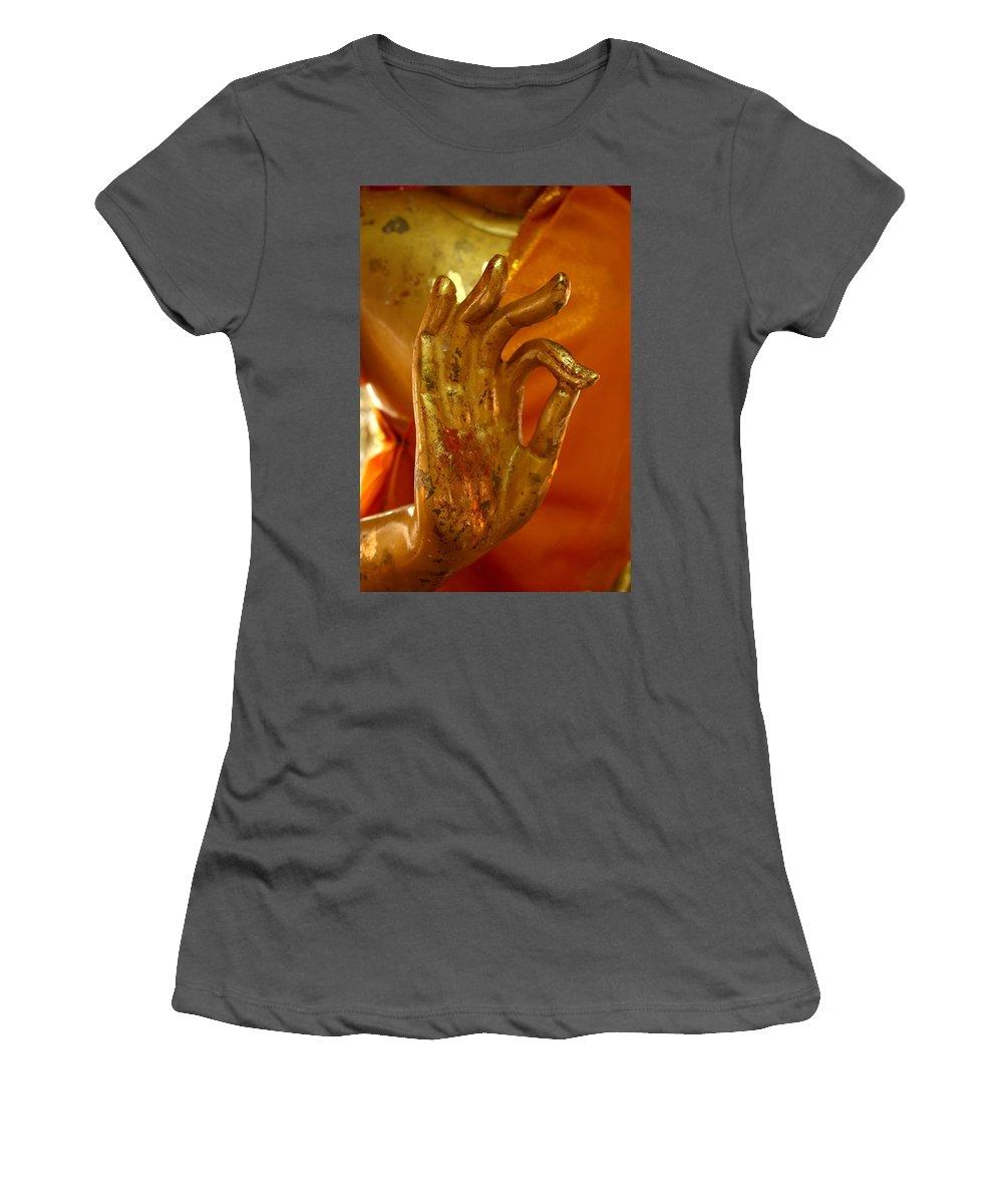 Buddhism Women's T-Shirt (Athletic Fit) featuring the photograph Buddhism Symbols by Minaz Jantz