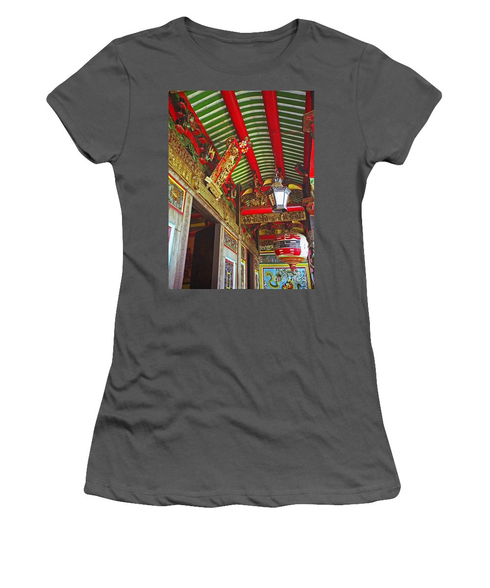 Vietnam Women's T-Shirt (Athletic Fit) featuring the photograph Nord Hoi Temple Ceiling by Rich Walter