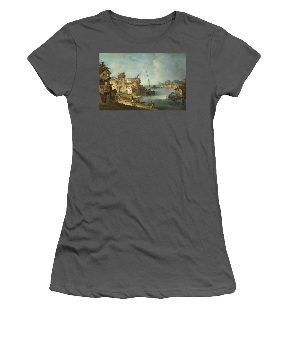 Michele Women's T-Shirt (Athletic Fit) featuring the digital art Buildings And Figures Near A River With Shipping by PixBreak Art