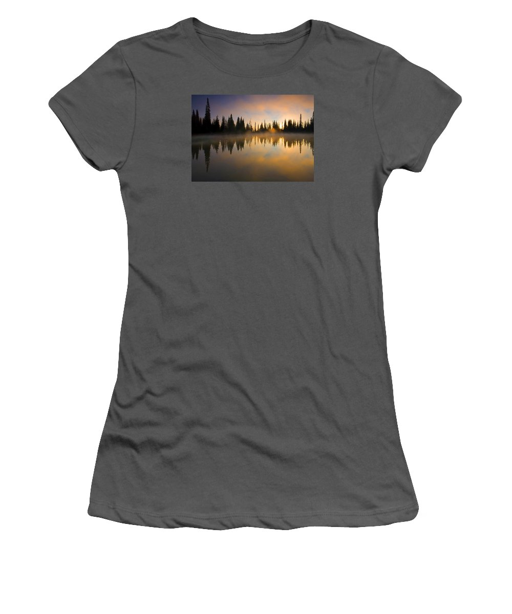 Lake Women's T-Shirt (Athletic Fit) featuring the photograph Burning Dawn by Mike Dawson