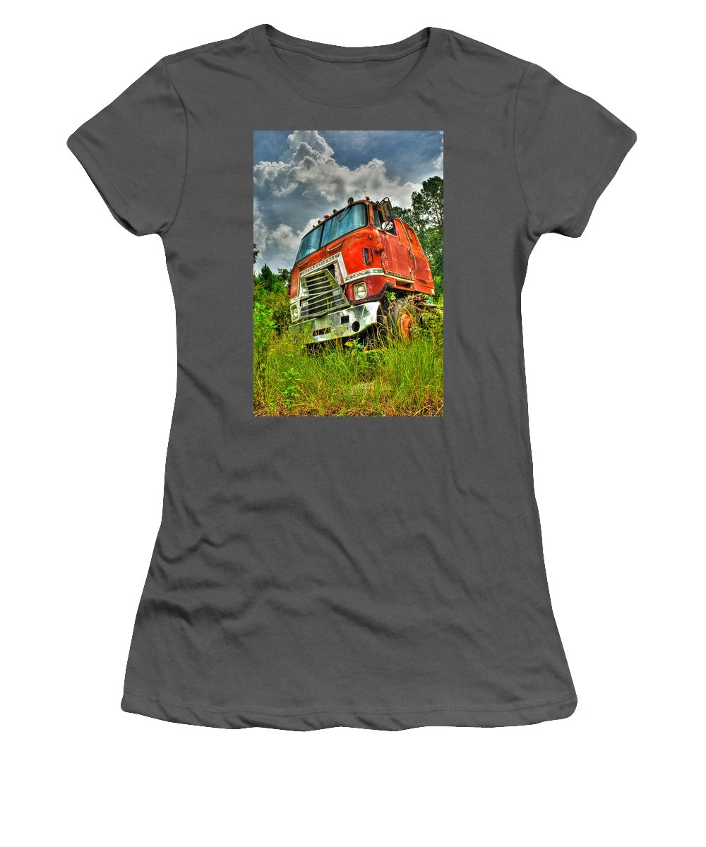 Truck Women's T-Shirt (Athletic Fit) featuring the photograph Busted And Rusted by Rich Leighton