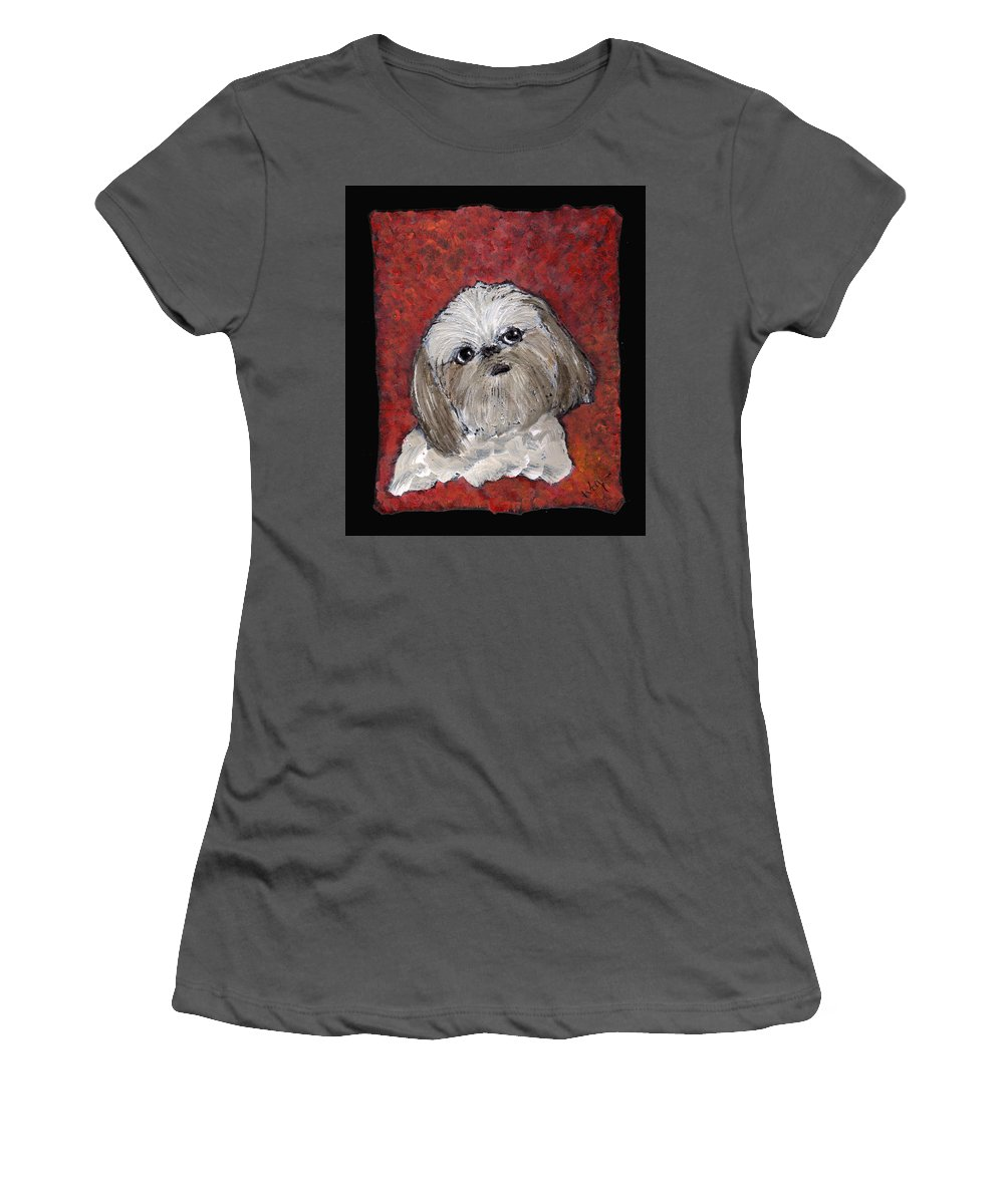 Dog Women's T-Shirt (Athletic Fit) featuring the painting Buster by Wayne Potrafka