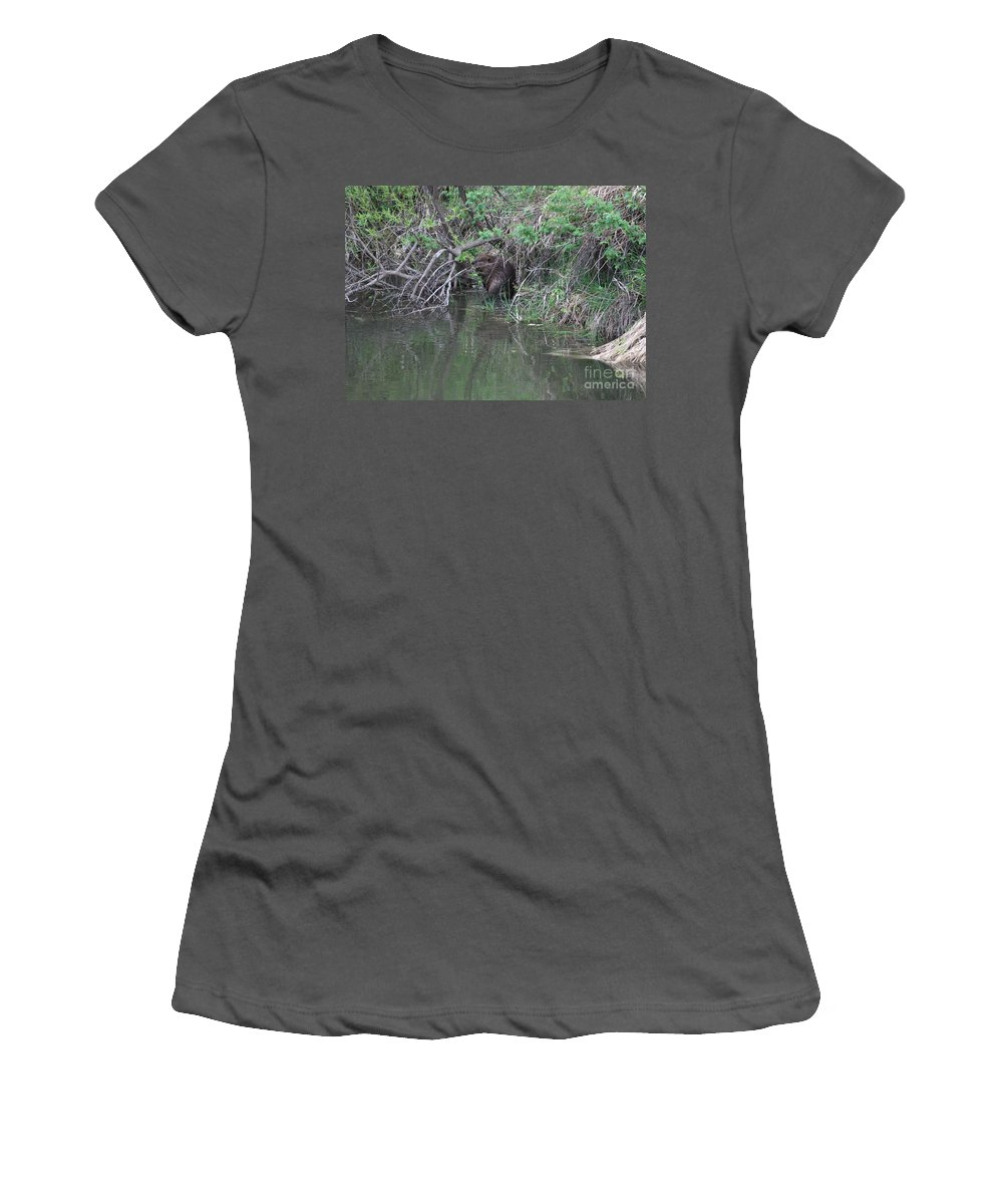 Beaver Women's T-Shirt (Athletic Fit) featuring the photograph Busy Beaver by Carol Groenen