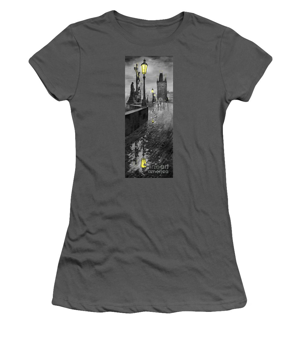 Prague Women's T-Shirt (Athletic Fit) featuring the painting Bw Prague Charles Bridge 01 by Yuriy Shevchuk