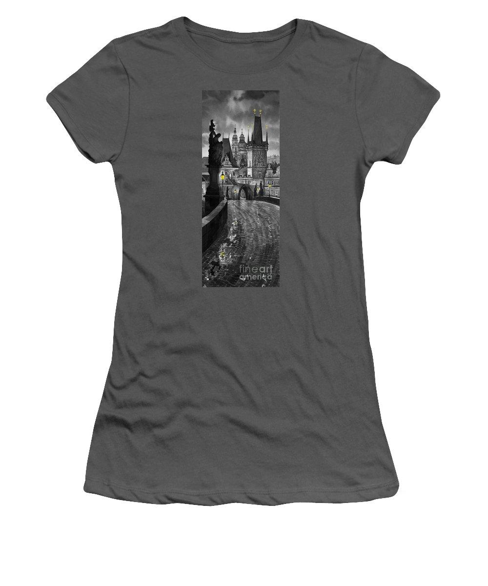 Prague Women's T-Shirt (Athletic Fit) featuring the painting Bw Prague Charles Bridge 03 by Yuriy Shevchuk