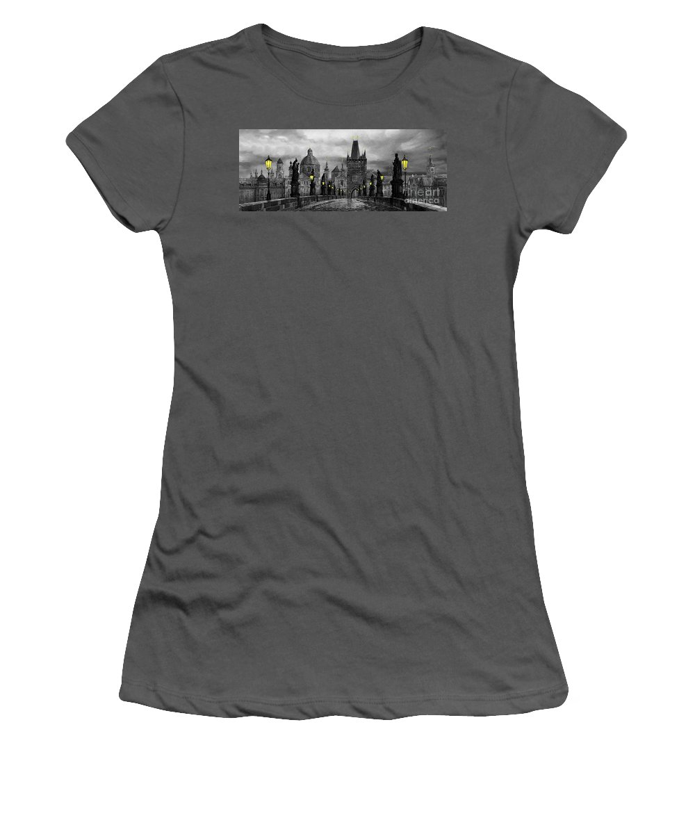 Prague Women's T-Shirt (Athletic Fit) featuring the painting Bw Prague Charles Bridge 04 by Yuriy Shevchuk