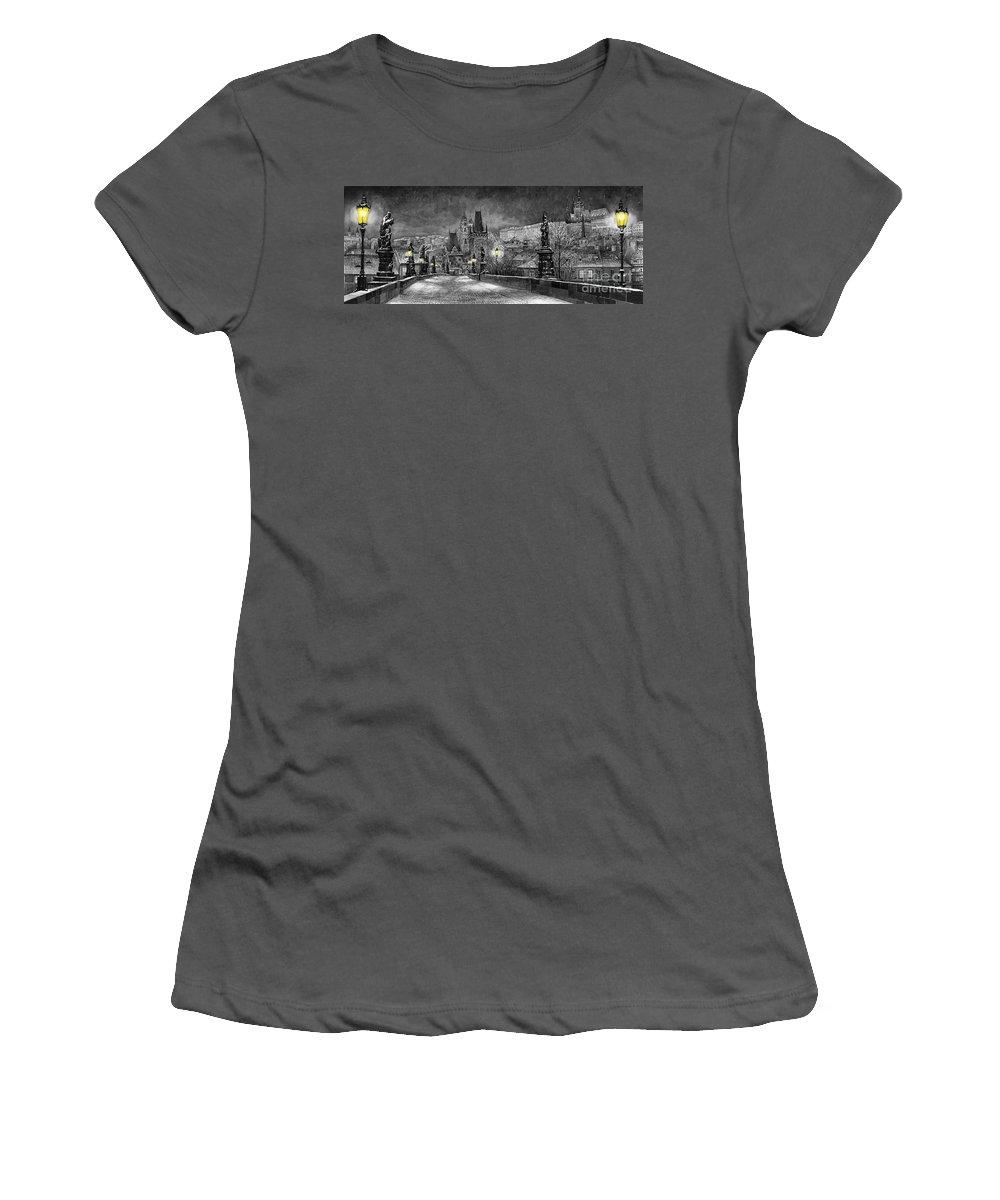 Prague Women's T-Shirt (Athletic Fit) featuring the painting Bw Prague Charles Bridge 06 by Yuriy Shevchuk