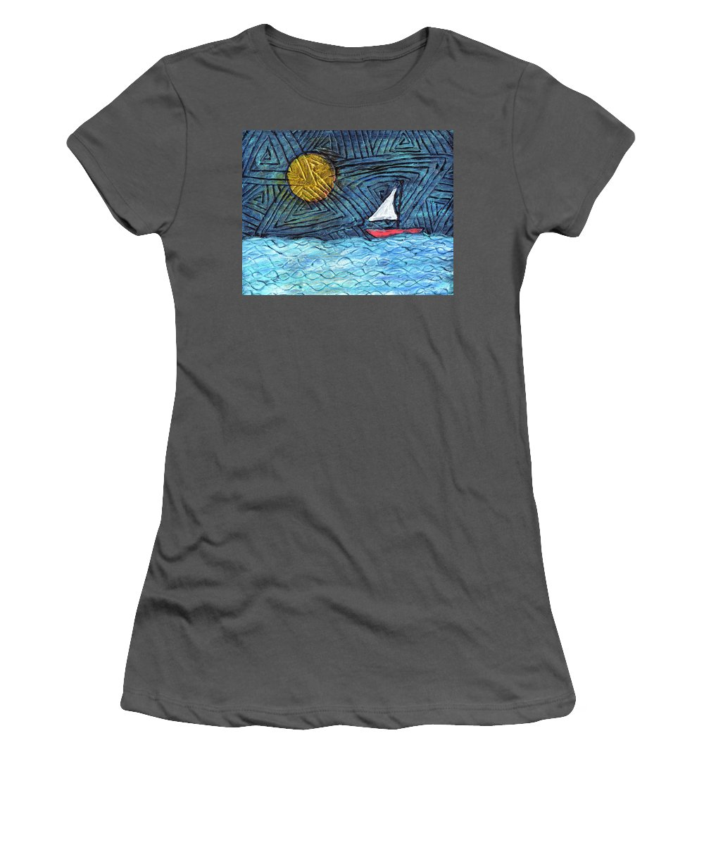 Sail Boat Women's T-Shirt (Athletic Fit) featuring the painting By The Light Of The Moon by Wayne Potrafka