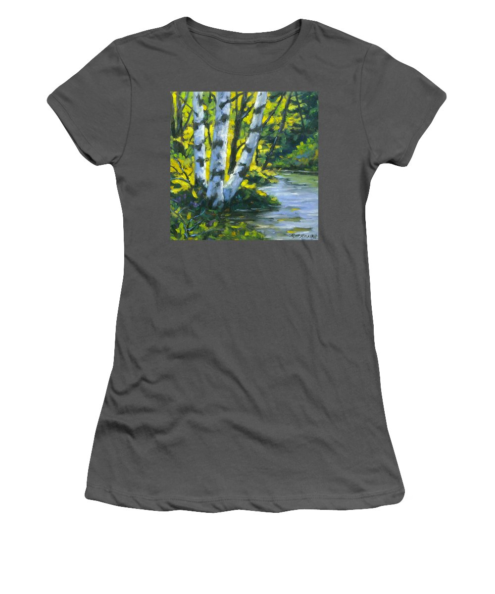 Art Women's T-Shirt (Athletic Fit) featuring the painting By The River by Richard T Pranke