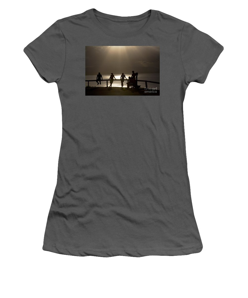 Byron Bay Lighthouse Silhouette Sunset Rays Women's T-Shirt (Athletic Fit) featuring the photograph Byron Bay Lighthouse by Avalon Fine Art Photography