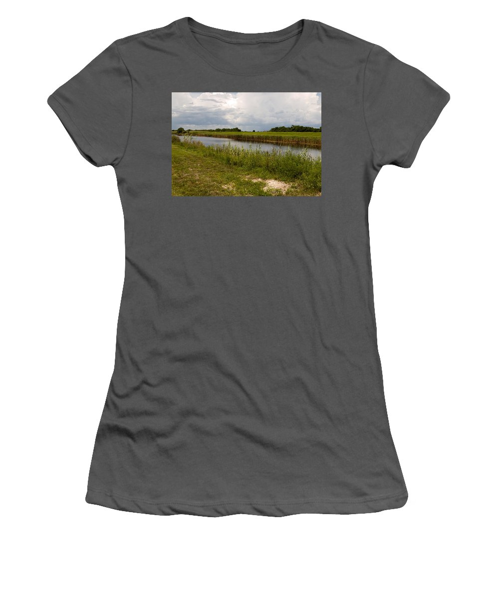 Florida; C54; Canal; Fellsmere; Sebastian; Grade; Drain; Draining; Water; Flow; Flowing; Indian; Riv Women's T-Shirt (Athletic Fit) featuring the photograph C54 Canal In Florida by Allan Hughes