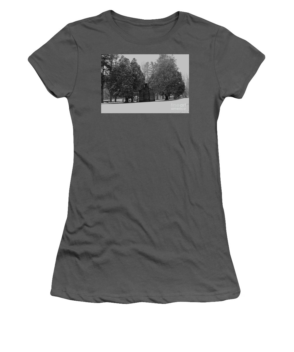 Snow Women's T-Shirt (Athletic Fit) featuring the photograph Cabin Between The Cedars by Eric Liller