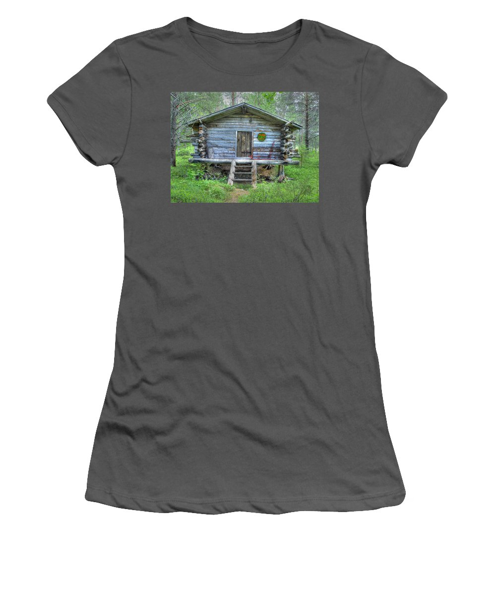 Rustic Women's T-Shirt (Athletic Fit) featuring the photograph Cabin In Lapland Forest by Merja Waters